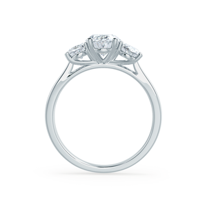 EVERDEEN - Oval Moissanite 18k White Gold Trilogy Ring Engagement Ring Lily Arkwright