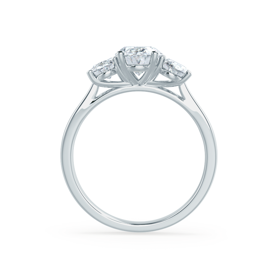 EVERDEEN - Oval Moissanite 950 Platinum Trilogy Ring Engagement Ring Lily Arkwright
