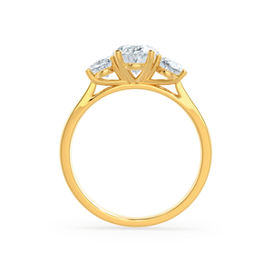 Lily Arkwright Engagement Ring EVERDEEN - Oval Charles & Colvard 18k Yellow Gold Trilogy Ring