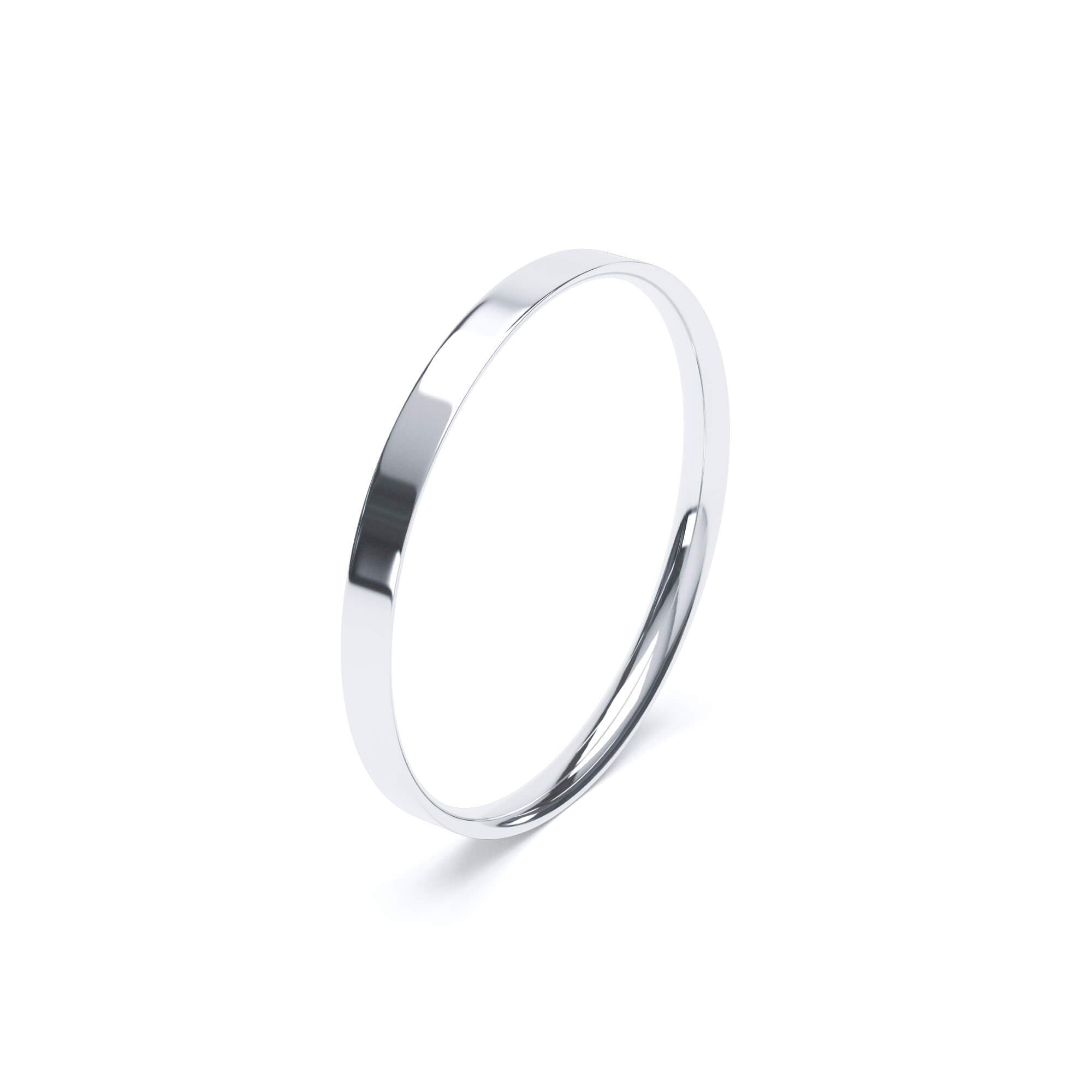 Women's Plain Wedding Band Flat Court Profile 18k White Gold Wedding Bands Lily Arkwright