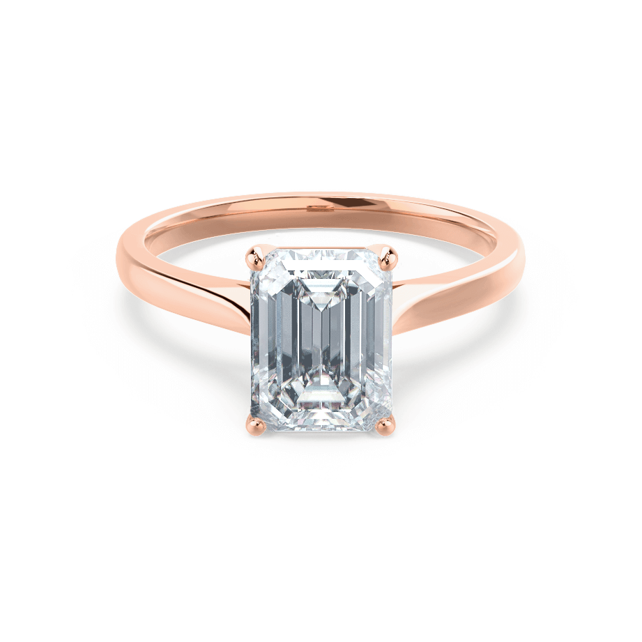 FLORENCE - Charles & Colvard Moissanite Emerald Cut 18k Rose Gold Solitaire Ring
