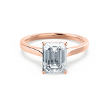 Florence Charles & Colvard Moissanite Emerald Cut 18k Rose Gold Solitaire Ring