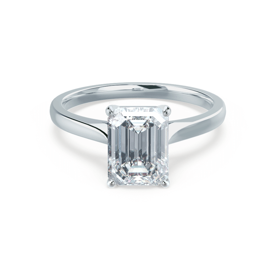 FLORENCE - Charles & Colvard Moissanite Emerald Cut Platinum Solitaire Ring