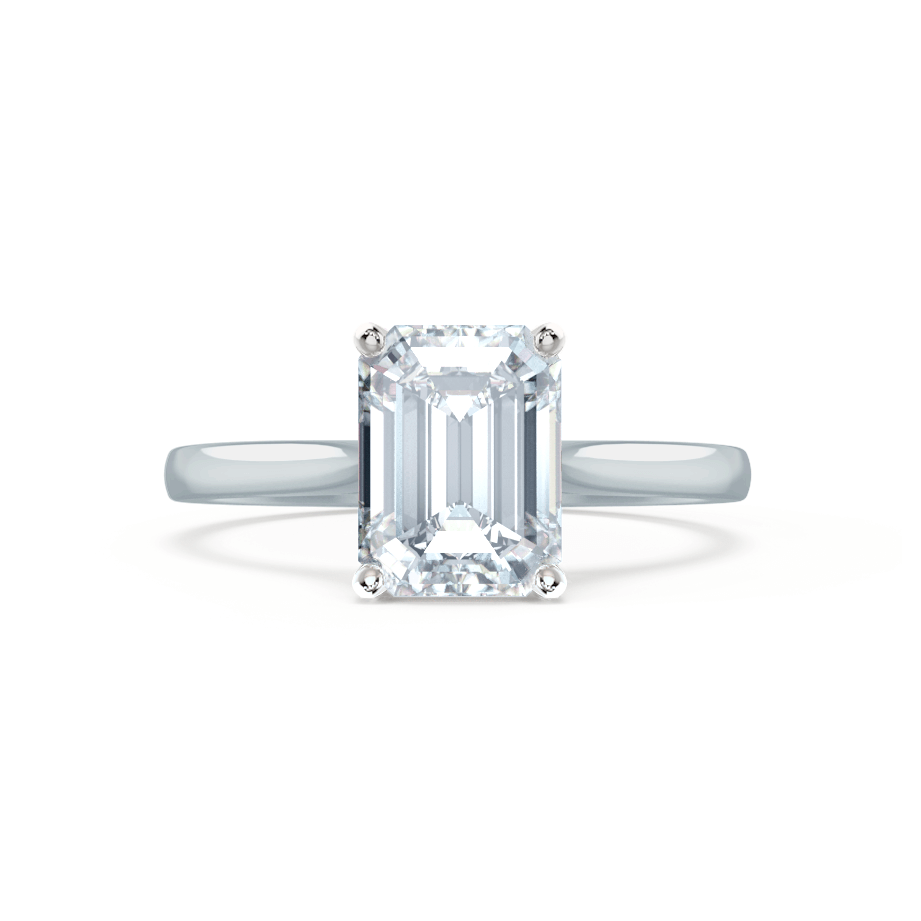 Lily Arkwright Engagement Ring FLORENCE - Charles & Colvard Moissanite Emerald Cut 18k White Gold Solitaire Ring
