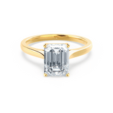 FLORENCE - Charles & Colvard Moissanite Emerald Cut 18k Yellow Gold Solitaire Ring