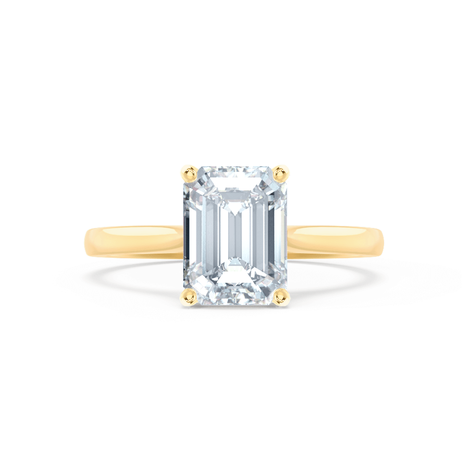 Florence Charles & Colvard Moissanite Emerald Cut 18k Yellow Gold Solitaire Ring