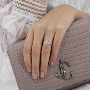 GISELLE - Round Round Moissanite & Diamond 18k Rose Gold Solitaire Ring Engagement Ring Lily Arkwright