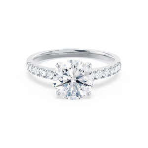 GISELLE - Round Moissanite & Diamond 18k White Gold Solitaire Ring Engagement Ring Lily Arkwright