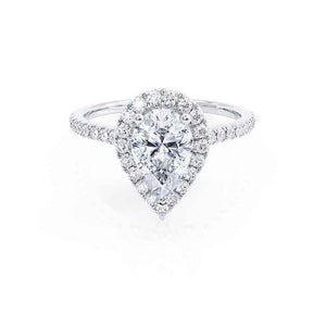 HARLOW - Pear Moissanite & Diamond 18k White Gold Halo Engagement Ring Lily Arkwright