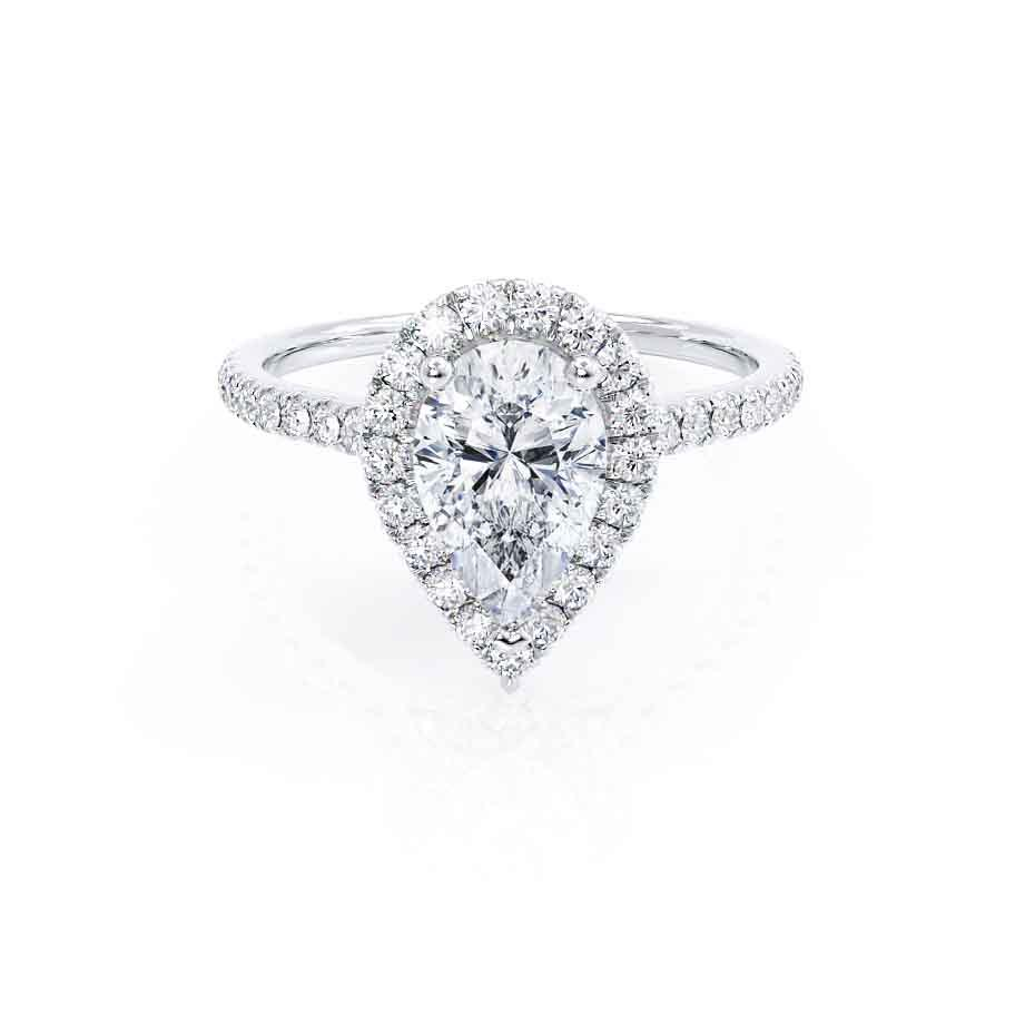 HARLOW - Pear Moissanite & Diamond Platinum Halo Engagement Ring Lily Arkwright
