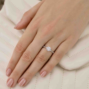 HOPE - Round Moissanite 18k Rose Gold Shoulder Set Ring Engagement Ring Lily Arkwright