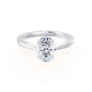 ISABELLA - Oval Moissanite 18k White Gold Solitaire Ring Engagement Ring Lily Arkwright
