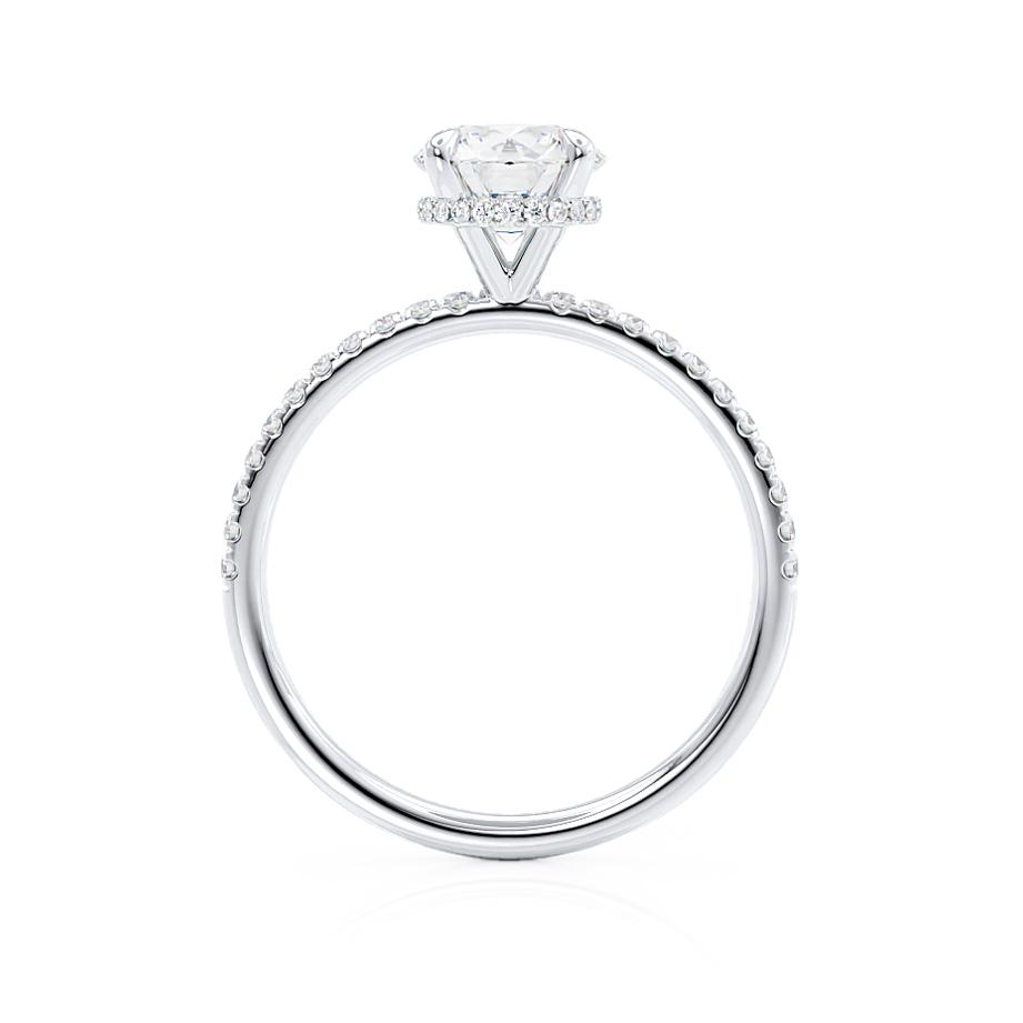 Lily Arkwright H&A round cut charles & colvard cut diamond gallery moissanite engagement ring platinum