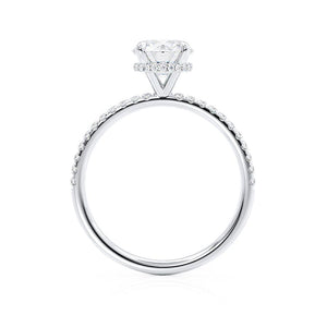 LIVELY - Round Moissanite & Diamond 950 Platinum Petite Hidden Halo Pavé Shoulder Set Ring Engagement Ring Lily Arkwright