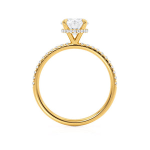 Lily Arkwright Lively H&A round cut charles & colvard cut diamond gallery moissanite ring 18k yellow gold