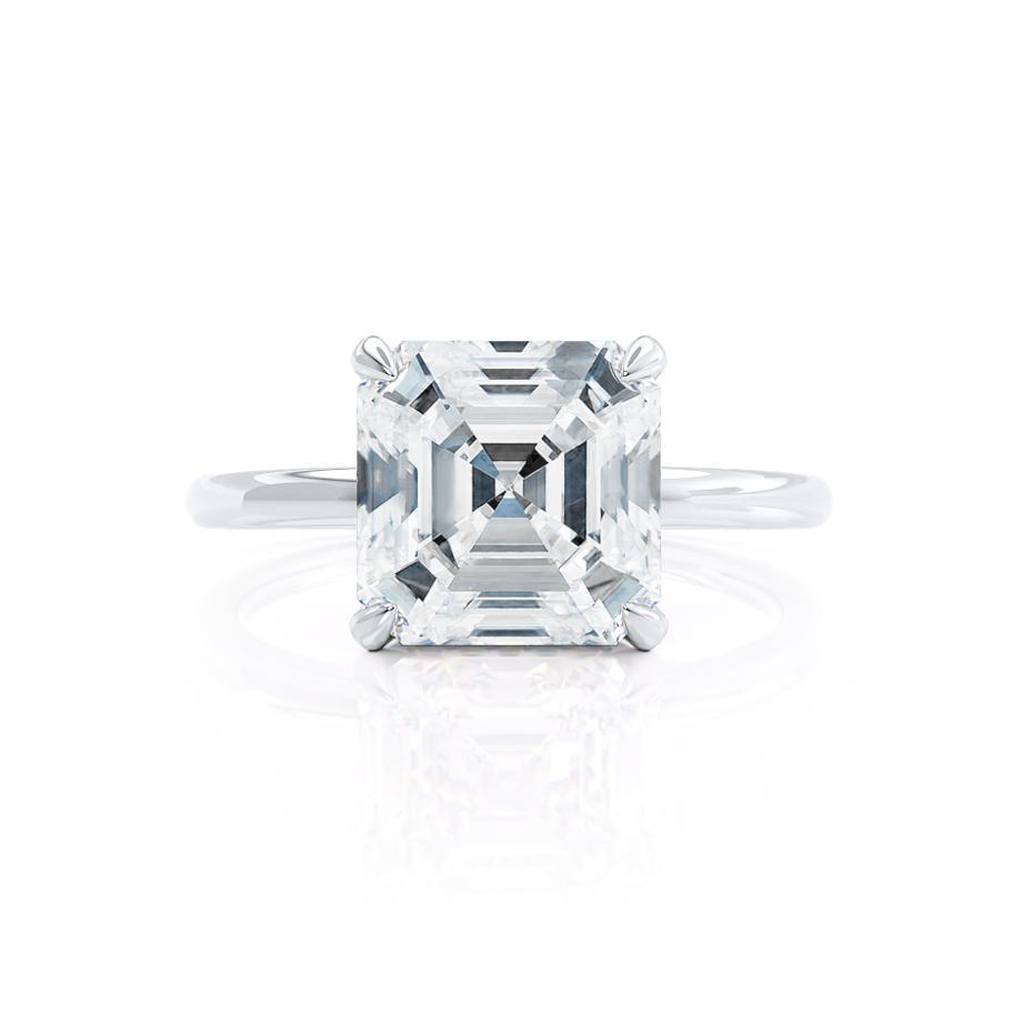 PARIS - Asscher Moissanite & Diamond 18k White Gold Hidden Halo Engagement Ring Lily Arkwright