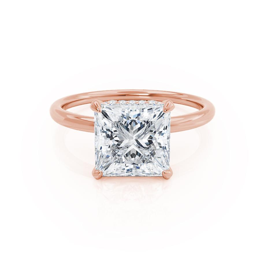 PARIS - Princess Moissanite & Diamond 18k Rose Gold Hidden Halo Engagement Ring Lily Arkwright
