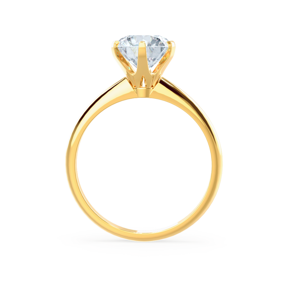 LILLIE - 6 Prong Knife Edge Round Moissanite 18K Yellow Gold Solitaire