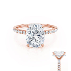 LIVELY - Elongated Cushion Moissanite & Diamond 18k Rose Gold Petite Hidden Halo Pavé Shoulder Set Ring Engagement Ring Lily Arkwright