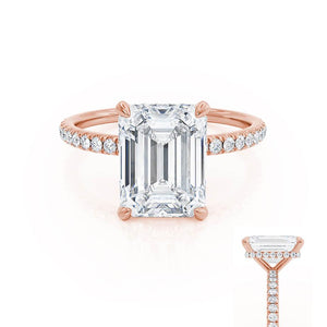 LIVELY - Emerald Moissanite & Diamond 18k Rose Gold Petite Hidden Halo Pavé Shoulder Set Ring Engagement Ring Lily Arkwright