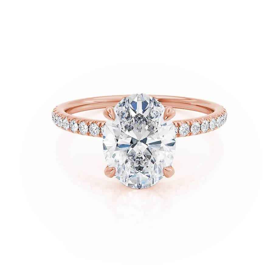 Lively oval moissanite diamond gallery engagement ring rose gold