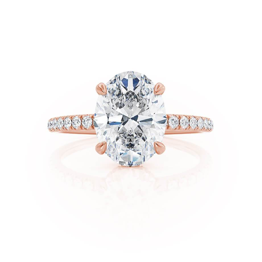 Lively oval moissanite hidden gallery engagement ring rose gold