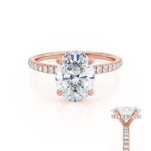 LIVELY - Oval Moissanite & Diamond 18k Rose Gold Petite Hidden Halo Pavé Shoulder Set Ring Engagement Ring Lily Arkwright