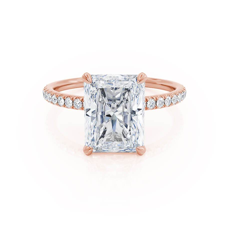 Rose Gold hidden gallery diamond and moissanite radiant cut ring rose gold