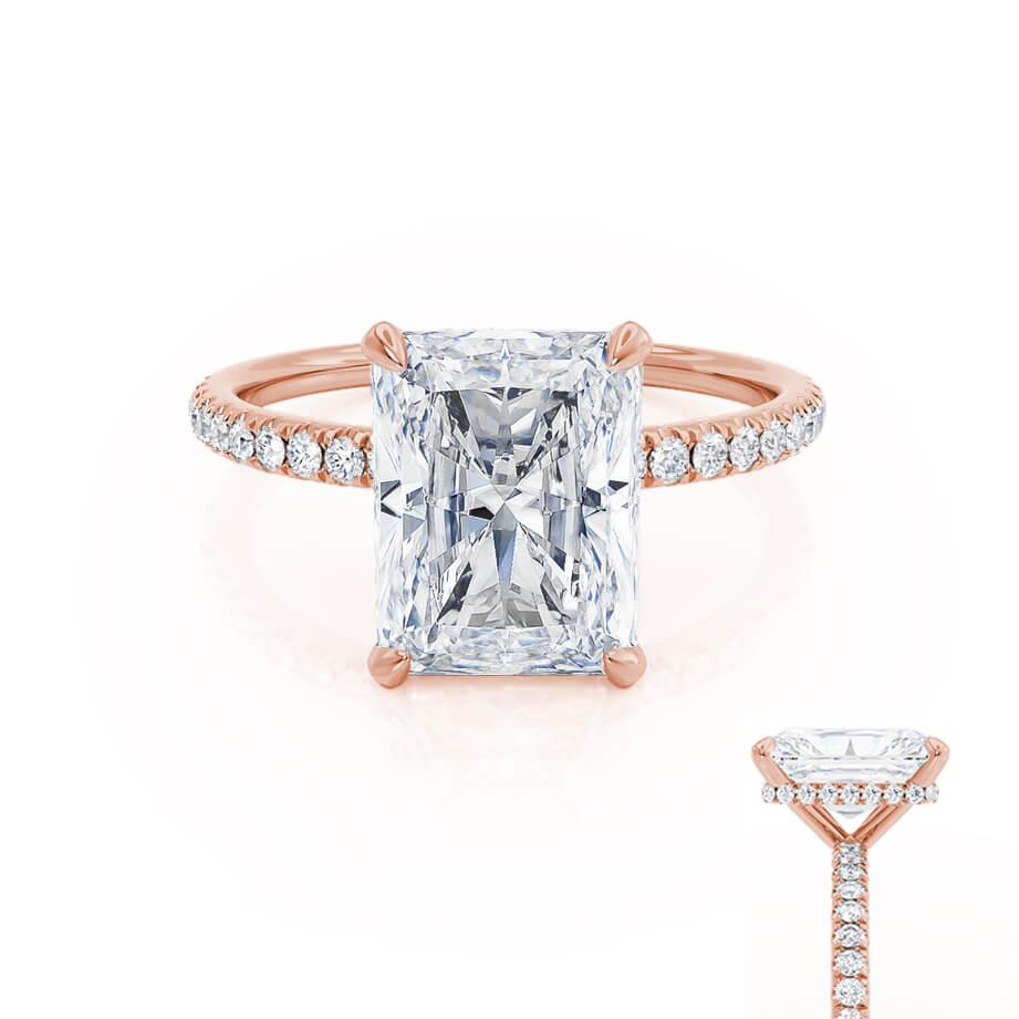 Lily Arkwright radiant cut Charles & Colvard Forever One Moissanite ring Rose Gold