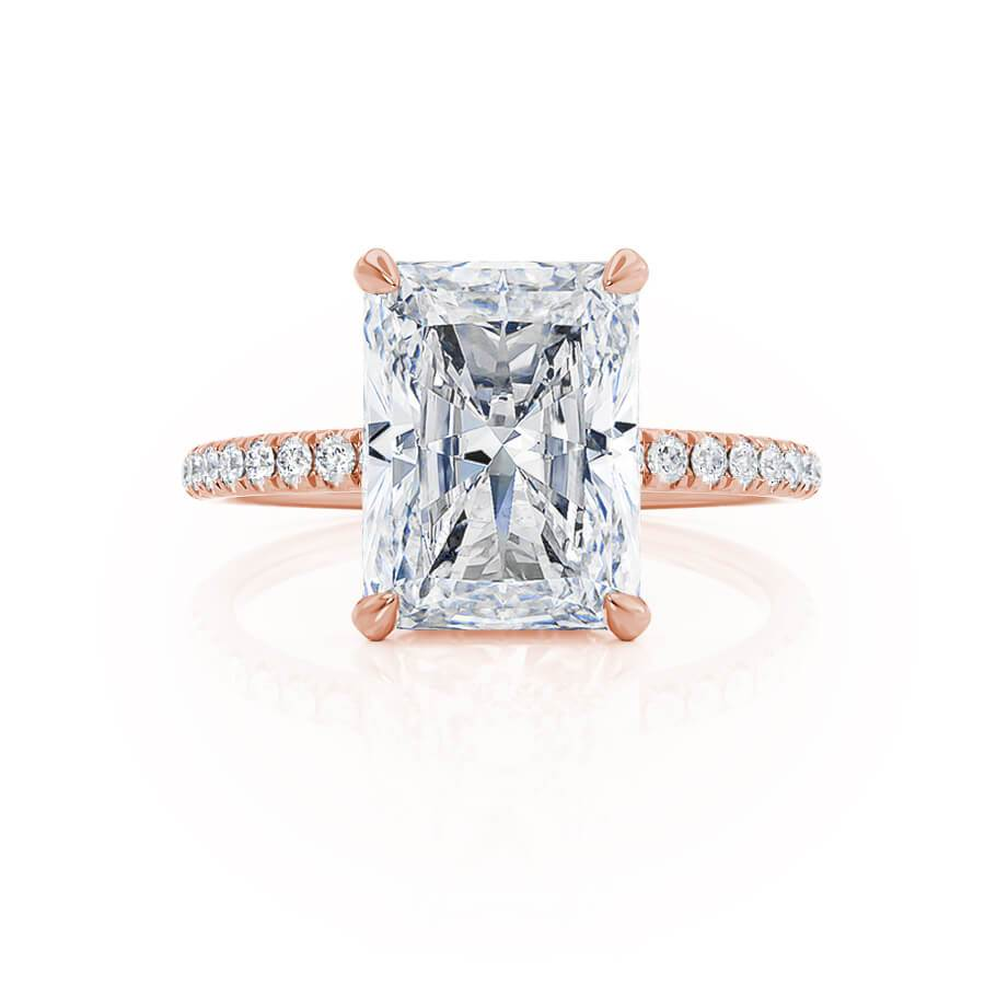 Diamond gallery hidden halo Lily Arkwright rose gold engagement ring