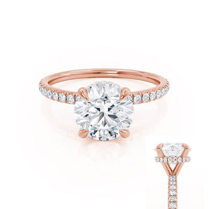 LIVELY - Round Moissanite & Diamond 18k Rose Gold Hidden Halo Micro Pavé Shoulder Set Ring Engagement Ring Lily Arkwright