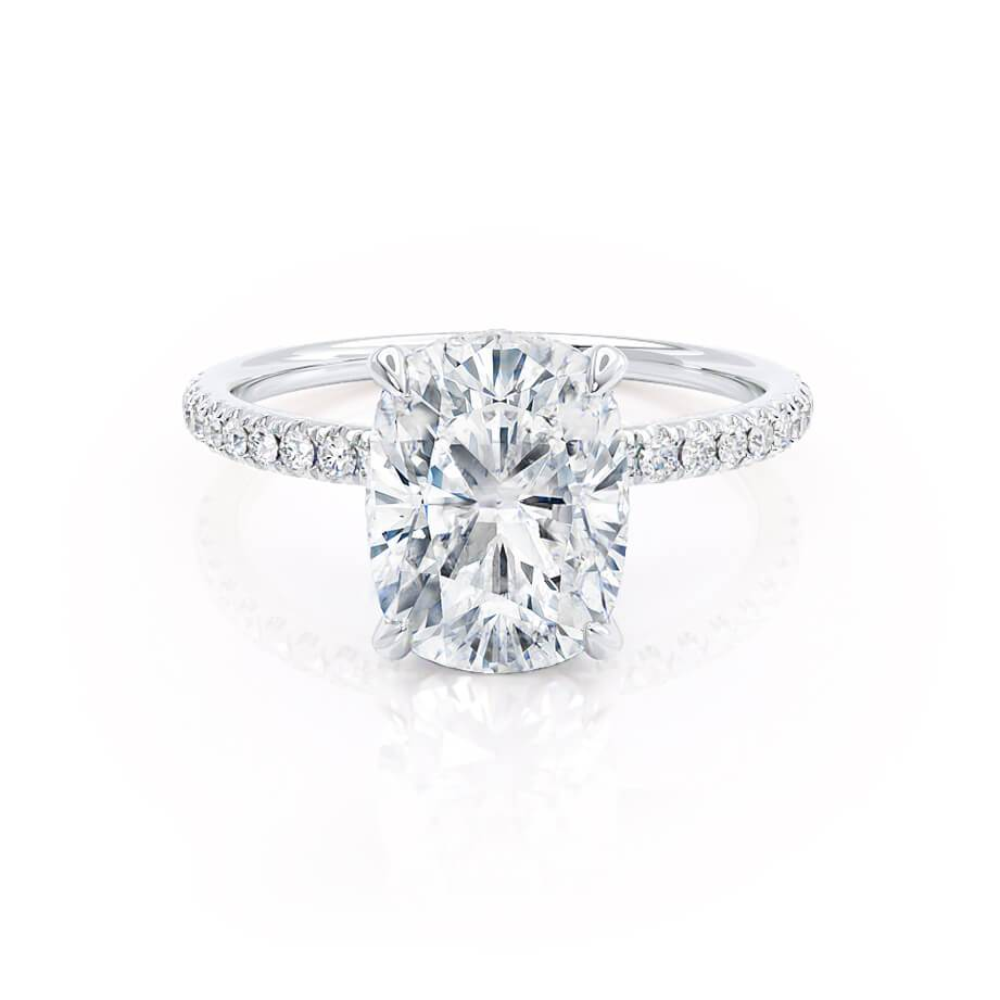 Lily Arkwright Lively elongated cushion hidden halo moissanite & diamond engagement ring white gold