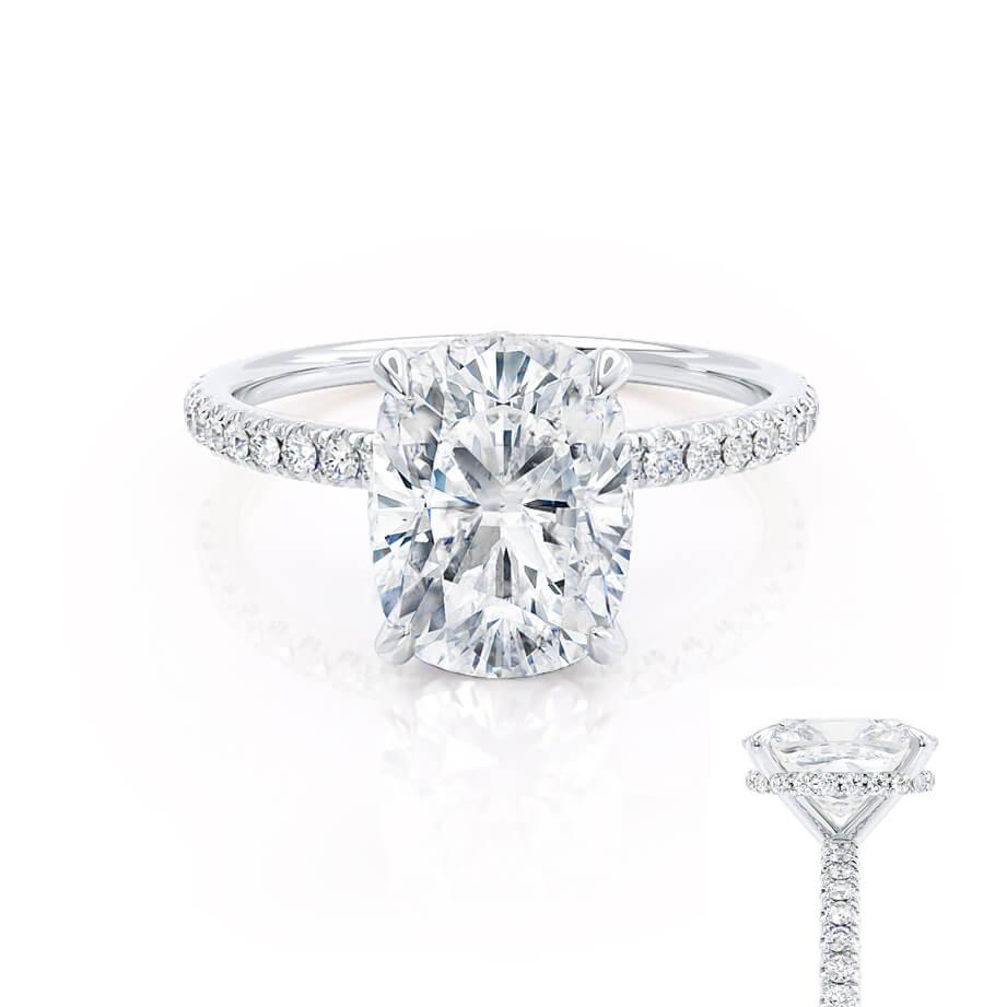 LIVELY - Elongated Cushion Moissanite & Diamond 18k White Gold Petite Hidden Halo Pavé Shoulder Set Ring Engagement Ring Lily Arkwright