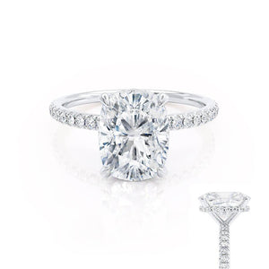 LIVELY - Elongated Cushion Moissanite & Diamond Platinum Petite Hidden Halo Pavé Shoulder Set Ring Engagement Ring Lily Arkwright