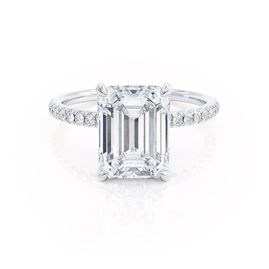 Lily Arkwright Charles & Colvard Emerald Cut Moissanite 18k White Gold Petite Diamond Gallery Micro Pavé Shoulder Set