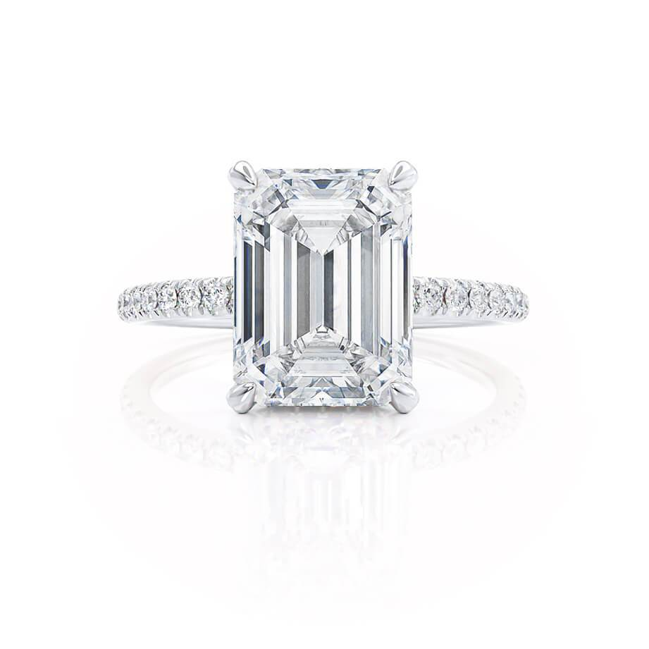 Lily Arkwright Emerald Cut Moissanite 18k White Gold Petite Diamond Gallery Micro Pavé Shoulder Set