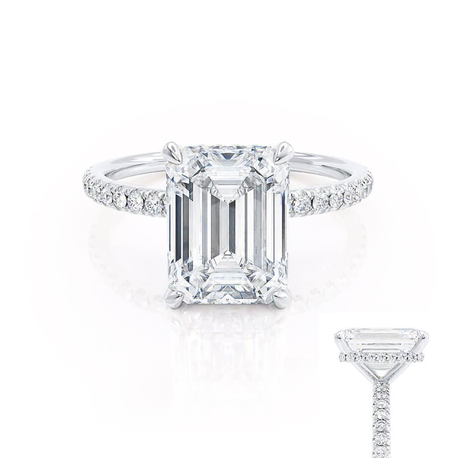Lily Arkwright Emerald Cut Moissanite 18k White Gold Petite Hidden Halo Pavé Shoulder Set