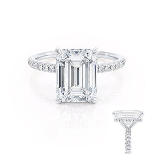 LIVELY - Emerald Moissanite & Diamond Platinum Petite Hidden Halo Pavé Shoulder Set Ring Engagement Ring Lily Arkwright