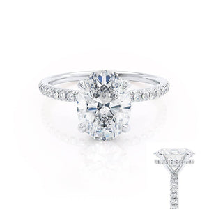 LIVELY - Oval Moissanite & Diamond Platinum Petite Hidden Halo Pavé Shoulder Set Ring Engagement Ring Lily Arkwright