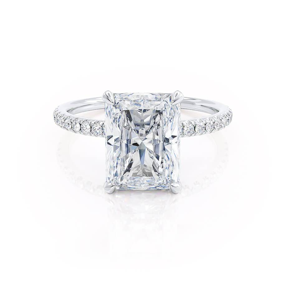 LIVELY - Radiant Moissanite & Diamond Platinum Petite Hidden Halo Pavé Shoulder Set Ring Engagement Ring Lily Arkwright