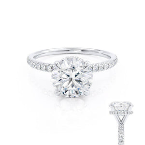 Lively hearts & arrows charles & colvardcut hidden halo moissanite engagement ring white gold