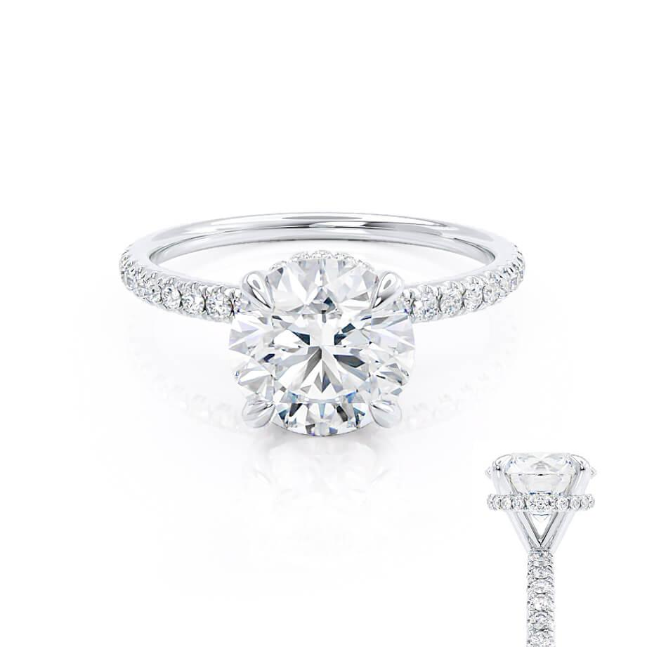 Lively H&A round cut charles & colvard cut diamond gallery moissanite engagement ring platinum