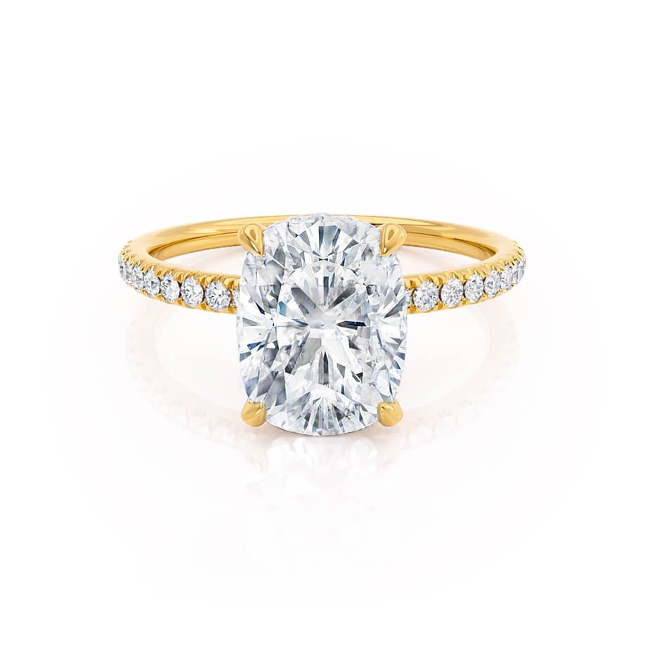 Lily Arkwright Elongated Cushion Cut Moissanite 18k Yellow Gold Petite Diamond Gallery Micro Pavé Shoulder Set