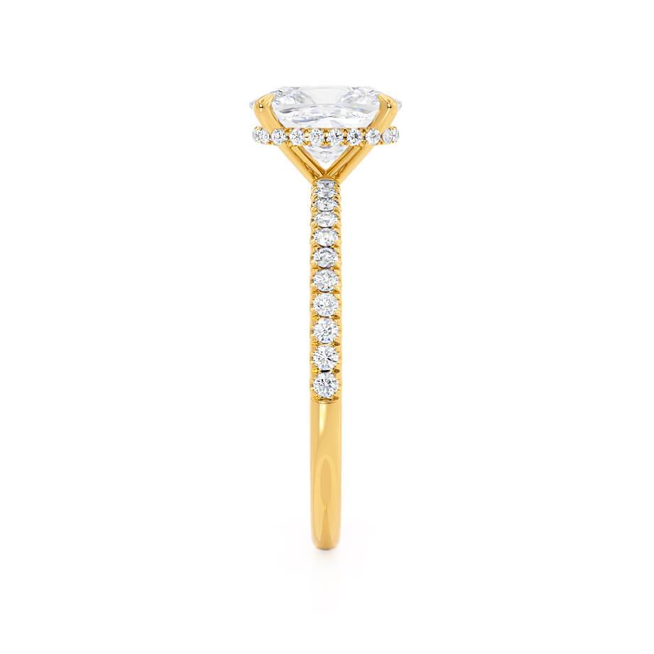 Lily Arkwright Elongated Cushion Cut Moissanite 18k Yellow Gold Petite Diamond Gallery Pavé Shoulder Set