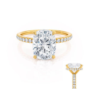 LIVELY - Elongated Cushion Moissanite & Diamond 18k Yellow Gold Petite Hidden Halo Pavé Shoulder Set Ring Engagement Ring Lily Arkwright