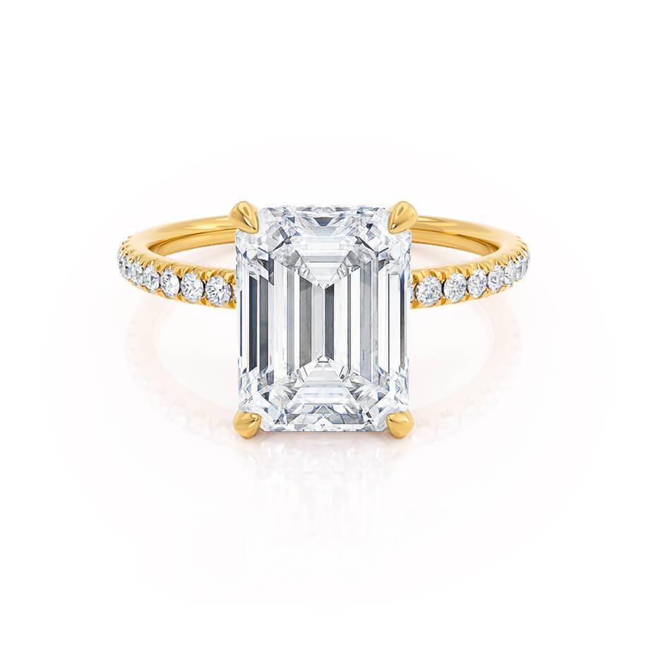 Lively Emerald Cut Moissanite Yellow Gold Petite Hidden Halo Micro Pavé Shoulder Set Lily Arkwright