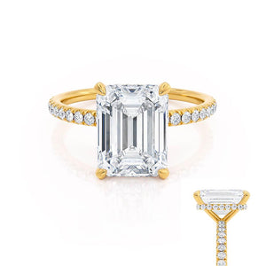 LIVELY - Emerald Moissanite & Diamond 18k Yellow Gold Petite Hidden Halo Pavé Shoulder Set Ring Engagement Ring Lily Arkwright