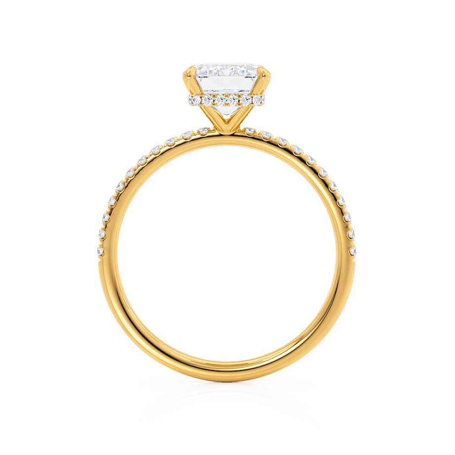 LIVELY - Emerald Cut Moissanite 18k Yellow Gold Petite Hidden Halo Micro Pavé Shoulder Set Media Lily Arkwright