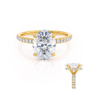 LIVELY - Oval Moissanite & Diamond 18k Yellow Gold Petite Hidden Halo Pavé Shoulder Set Ring Engagement Ring Lily Arkwright