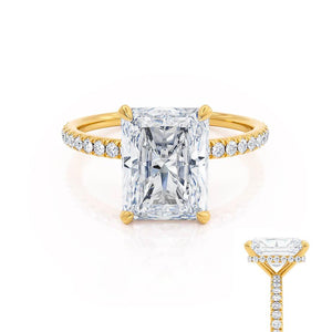 LIVELY - Radiant Moissanite & Diamond 18k Yellow Gold Petite Hidden Halo Pavé Shoulder Set Ring Engagement Ring Lily Arkwright